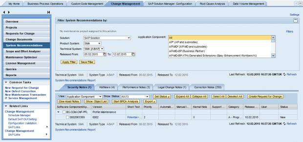 'Change Management' tab of transaction SOLMAN_WORKCENTER.