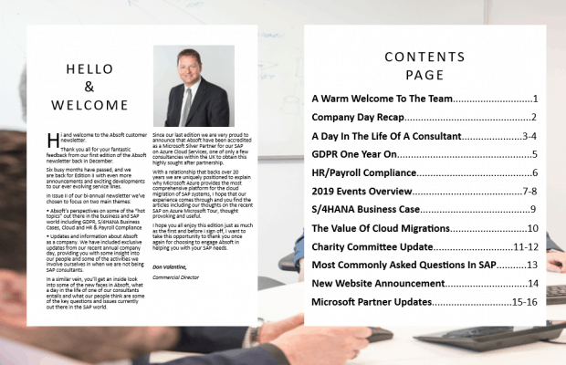 Absoft SAP UK Consultancy bi-annual newsletter