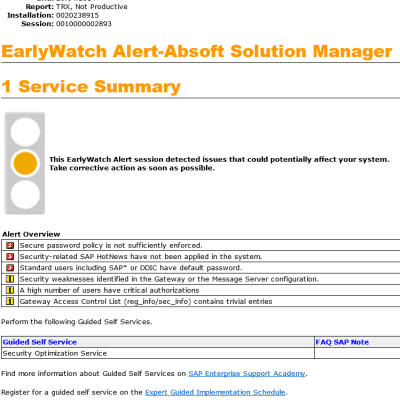 Early Watch Alert - Solution Manager