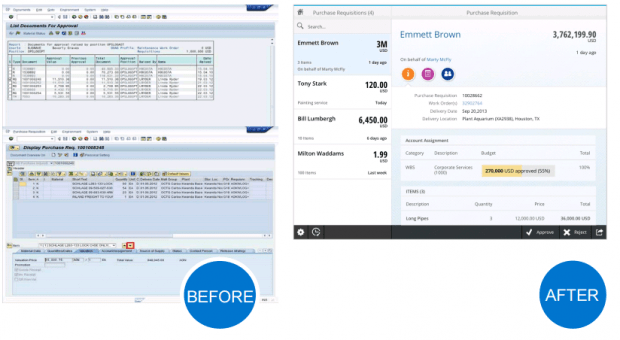 Example of Purchase Requisition creation. Old SAP (GUI) vs new (Fiori)