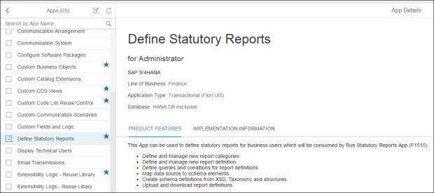 Fiori Apps Library Define Statutory Reports