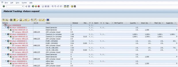 SAP Blog Rentals & Returns Screen Grab (Materials Tracking)