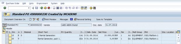 SAP Blog Rentals & Returns Screen Grab (Standard PO)