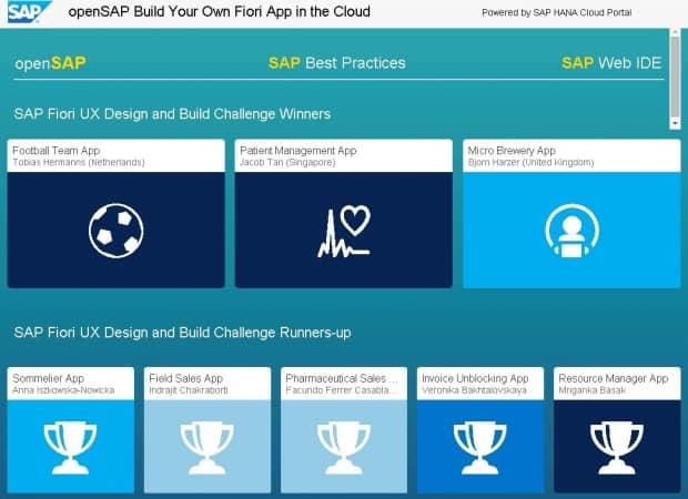 openSAP showcase gallery - Build your own Fiori App in the Cloud